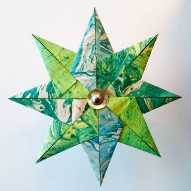 papirstjerne, diy, fremgangsmåte
