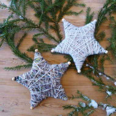 garnstjerne, stjerne av garn, julepynt
