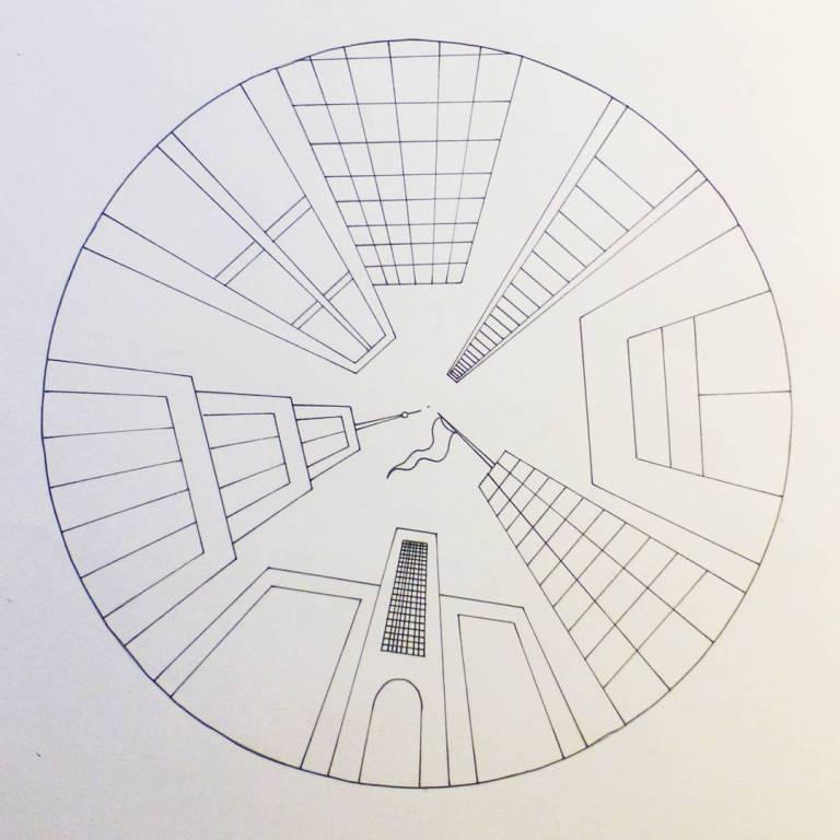 perspektivtegning, tegning, ettpunktsperspektiv