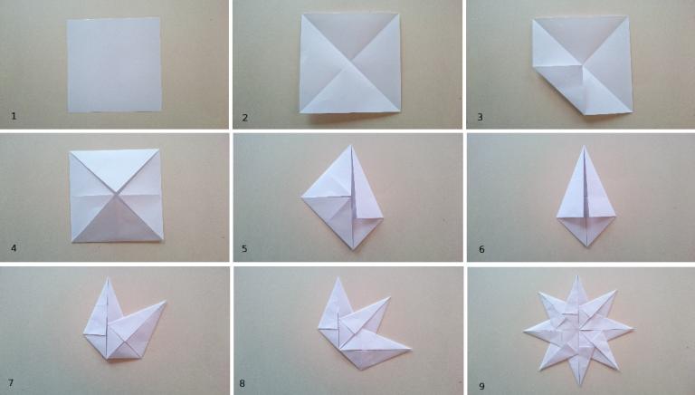 origami, stjerne, papirbretting, papirstjerne, origamistjerne, julepynt, diy