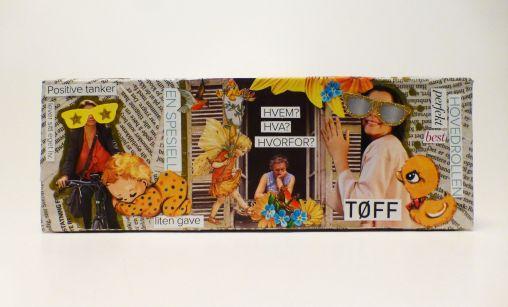 collage, avis, klipp og lim, glansbilder