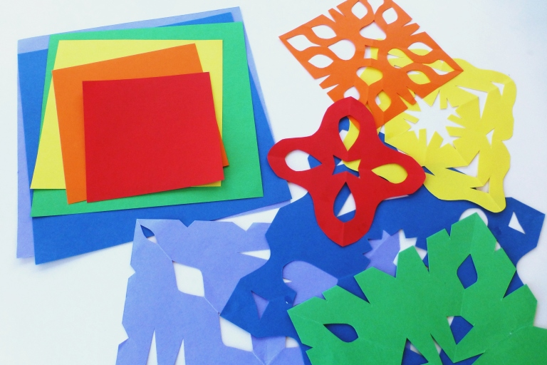 papir, regnbuefarger, klipp og lim