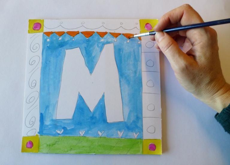 bokstav tegning og maling diy