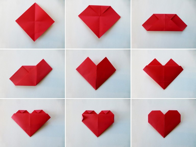 diy, origamihjerte fremgangsmåte