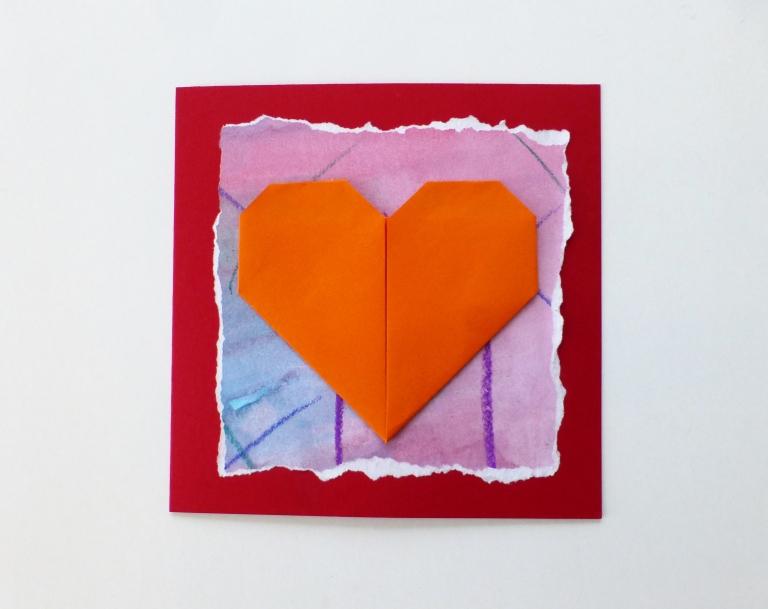kort med origamihjerte, morsdag, valentinesdag, diy