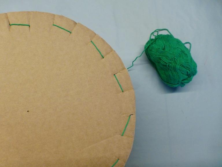 rundvev, gjenbruk papp, bomullsgarn