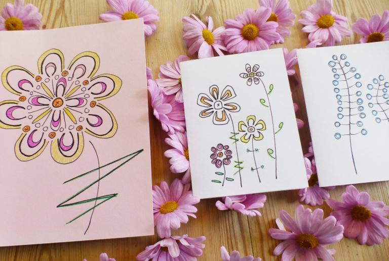 blomsterkort, fantasiblomster, tegne