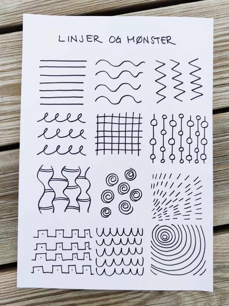 tegning, linjer og mønster