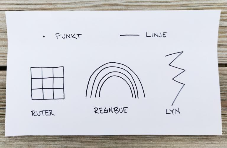 tegning, punkt og linjer