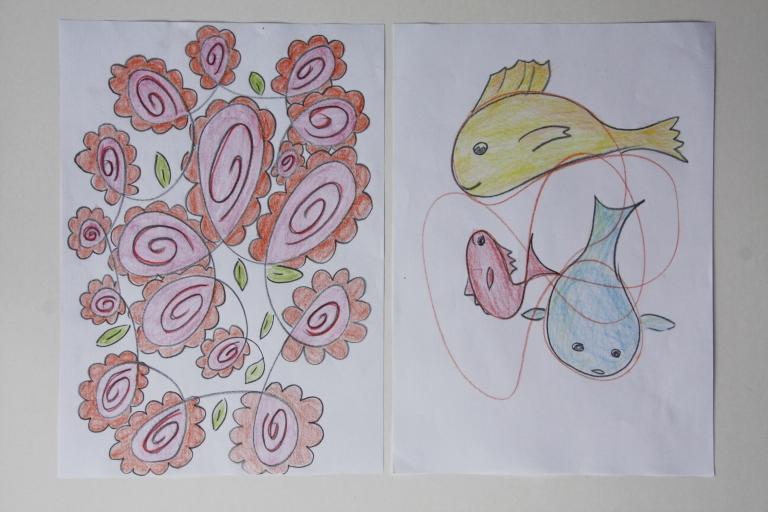 tegning, fantasi, blomster, fisk