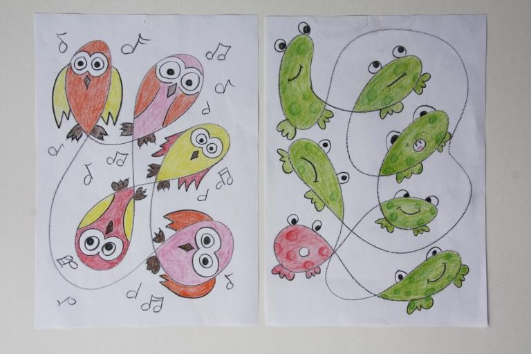 tegning, fantasi, ugle, frosk