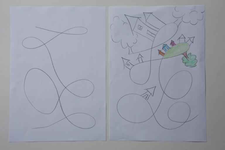 tegning, fantsi, hus